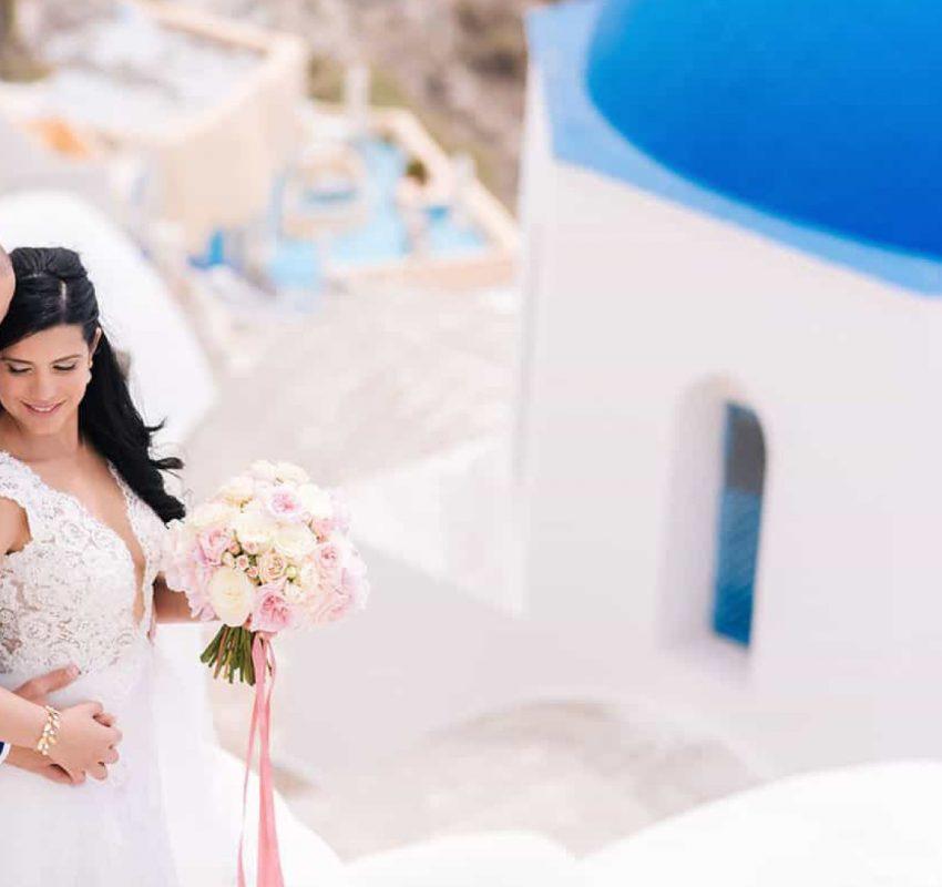 A luscious wedding overlooking the Caldera, in Santorini