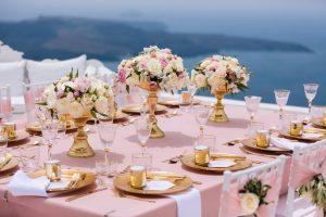 lush tablescape in santorini