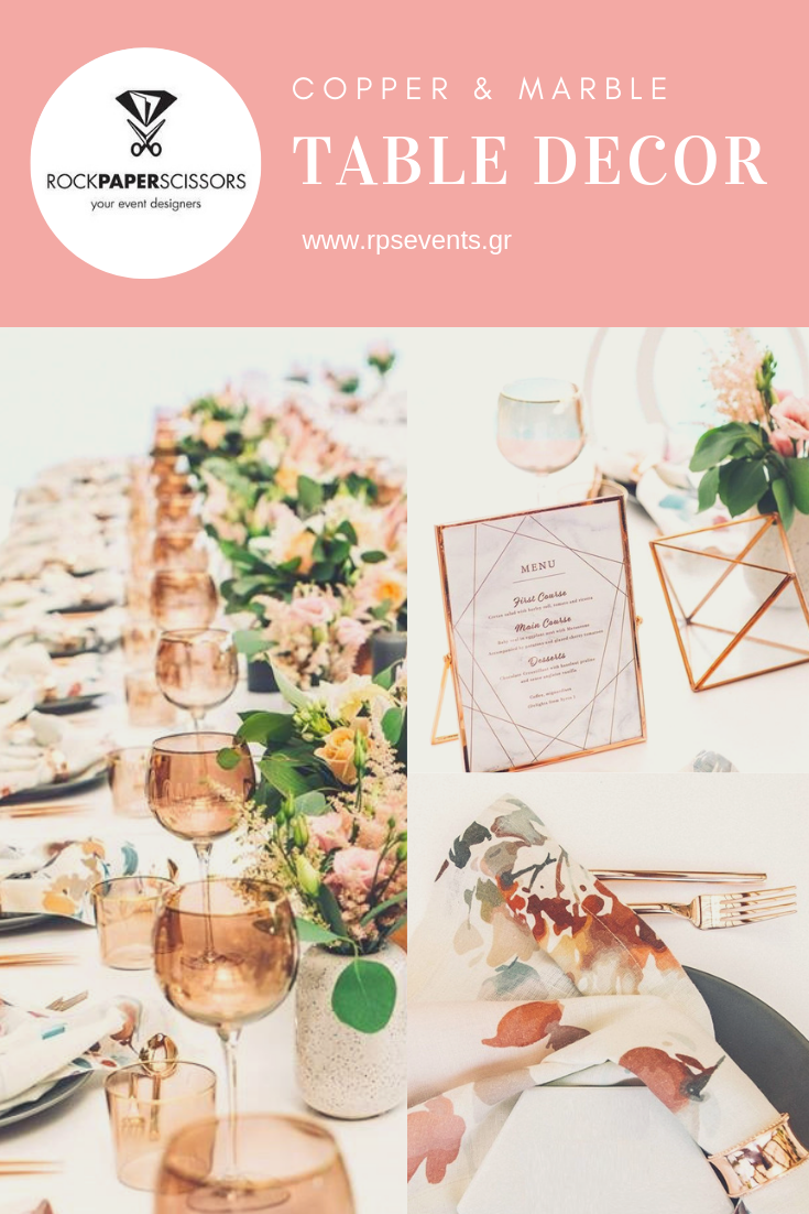 How to Set a Copper & Marble Table Decor for Your Event 11