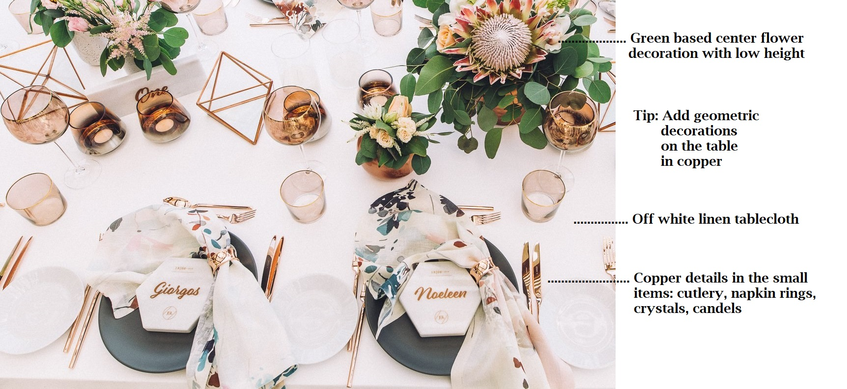 How to Set a Copper & Marble Table Decor for Your Event 1
