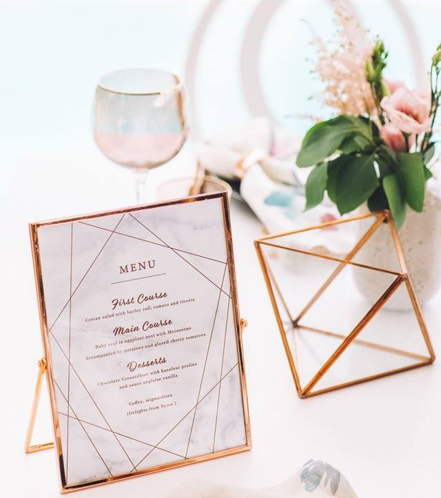 How to Set a Copper & Marble Table Decor by Rock Paper Scissors Events