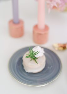 white small cake on blue plate