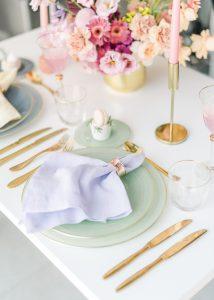 table dinner setup for two